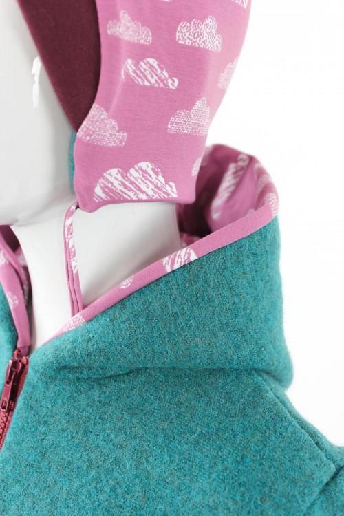 Kinder-Wolljacke petrol meliert mit rosa Wolken BIO-STOFFE