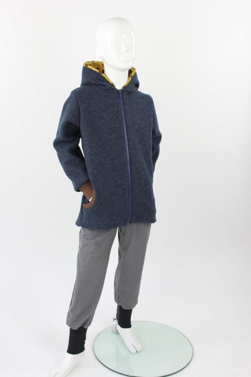 Kinder-Wolljacke marineblau meliert mit Igeln BIO-STOFFE