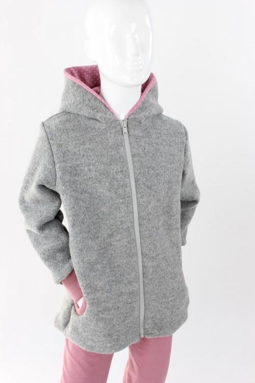 Kinder-Wolljacke grau mit rosa Punkten