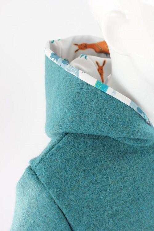 Kinder-Wolljacke petrol meliert mit Koalos und Co. BIO-STOFFE