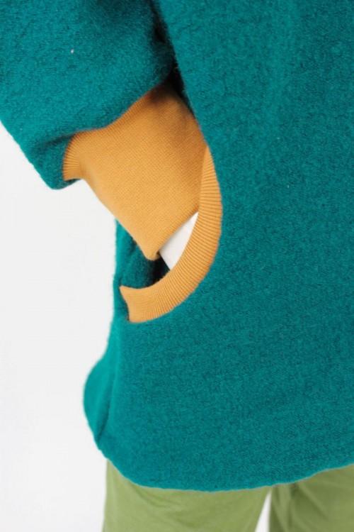 Kinder-Wolljacke smaragd mit Elefanten MEHRERE FARBEN