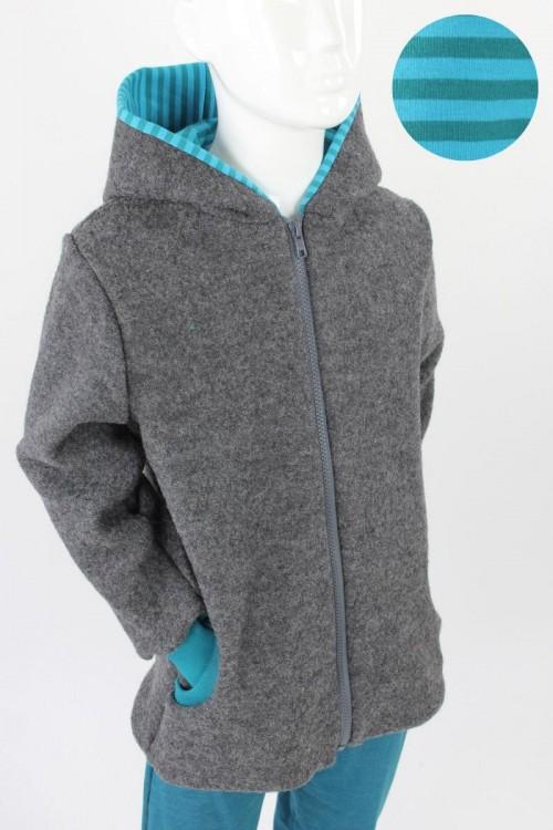 Kinder-Wolljacke anthrazit mit petrol Streifen