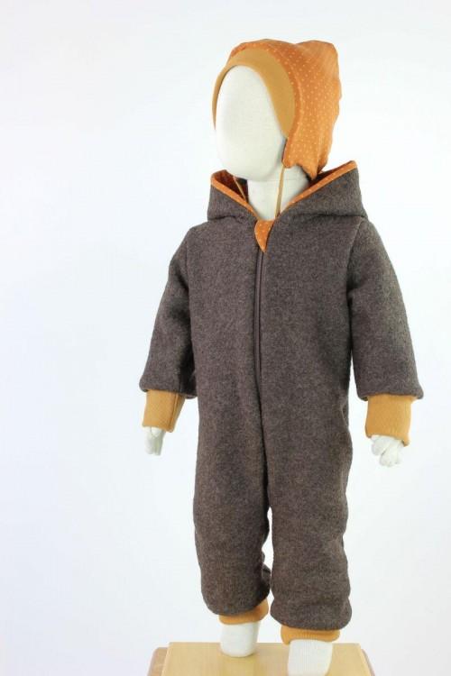 Kinder-Wollanzug braun mit Punkten auf orange