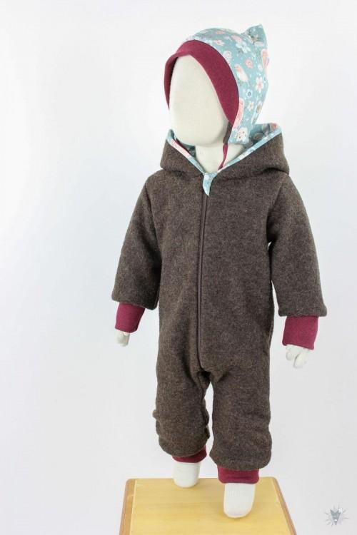 Kinder-Wollanzug braun mit Rosenvögeln auf petrol