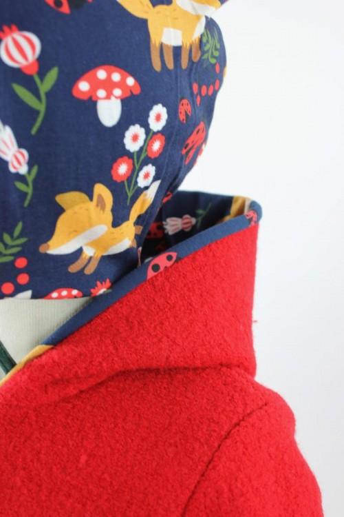 Kinder-Wollanzug rot mit Marienkäferfüchsen
