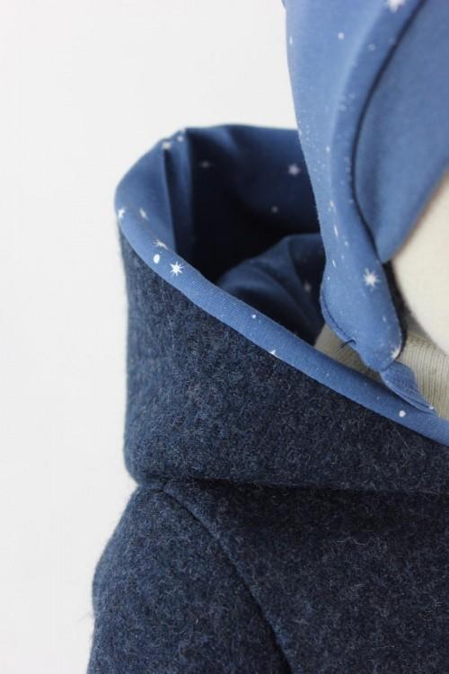 Kinder-Wollanzug marineblau meliert mit Sternen Bio-Stoffe