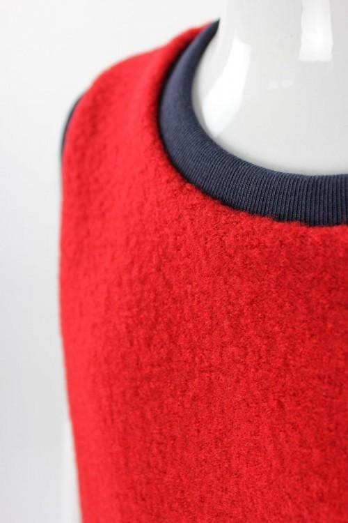 Wollweste für Kinder rot mit Streifen und Elefanten