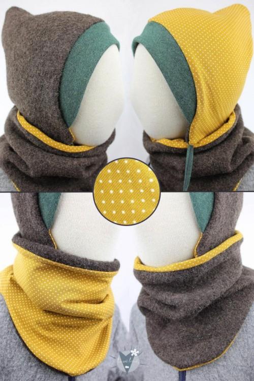 Wollmütze & Wollschlupfschal im Set, braun mit Punkten auf gelb