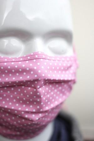 Mundbedeckung Mund-Nasen-Maske waschbar gepunktet rosa