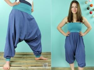 Haremshose/Jumpsuit blau meliert