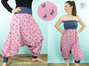 Haremshose/Jumpsuit Musselin, Schmetterlinge auf rosa