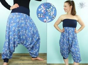 Haremshose/Jumpsuit Schmetterlinge und Blumen auf blau