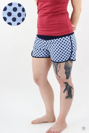 kurze Sommersweat-Hose blau gepunktet, marine Jerseybündchen