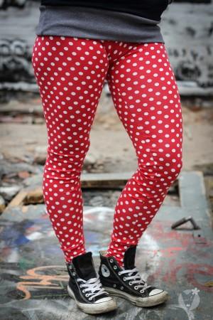 Leggings rot; gr. weiße Punkte