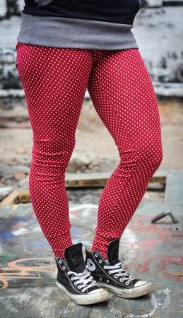 Leggings rot; weiße Punkte
