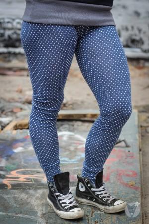 Leggings blau; weiße Punkte