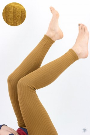 Leggings aus Ripp-Viskosejersey, ocker
