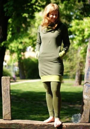 Pullikleid oliv; grün gestreift
