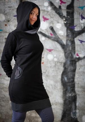 Pullikleid schwarz; schwarz-grau gestreift