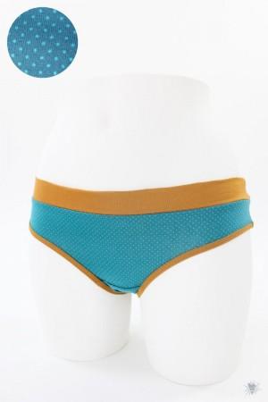 Damen-Unterhose mit Punkten auf petrol und ocker Bündchen