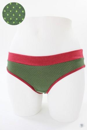 Damen-Unterhose grün mit Punkten und rot melierten Bündchen
