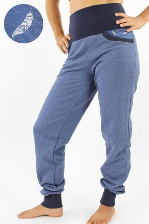 Sweat-Jogginghose marineblau meliert mit Federn XL