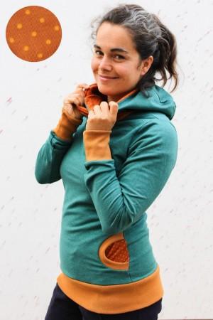 Kapuzenpulli grün meliert mit Punkten auf orange