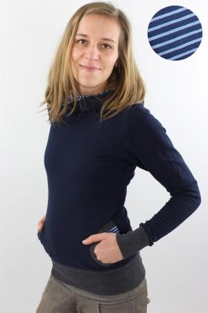 Damen-Kapuzenpulli marineblau mit Streifen