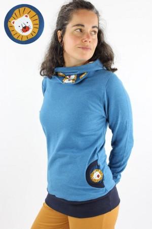 Damen-Kapuzenpulli blau meliert mit Löwen