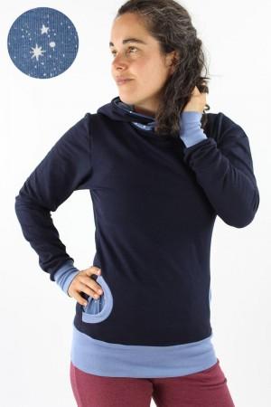 Damen-Kapuzenpulli marineblau mit Sternen L