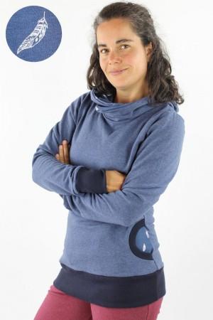 Damen-Kapuzenpulli marineblau meliert mit Federn