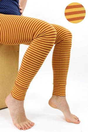 Leggings orange-gelb gestreift S