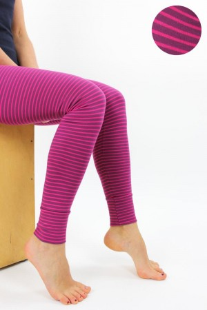 Leggings beere-pink gestreift
