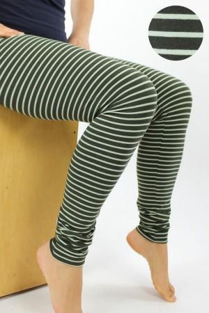 Leggings grün gestreift Bio-Stoffe