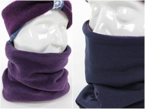 Fleece-Loopschal zum Wenden lila und marineblau