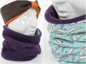 Fleece-Loopschal zum Wenden lila und Möwen