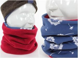 Fleece-Loopschal zum Wenden rot und Pusteblumen