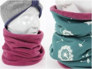Fleece-Loopschal zum Wenden rosa und Pusteblumen