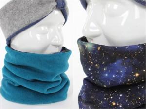 Fleece-Loopschal zum Wenden petrol und Blue Galaxy