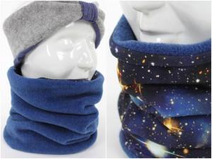 Fleece-Loopschal zum Wenden blau und Blue Galaxy