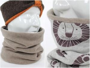 Fleece-Loopschal zum Wenden beige und Löwen