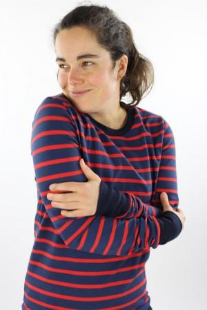 Langarmshirt aus Strickjersey blau/rot