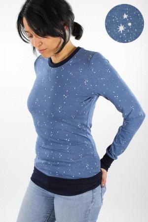 Langarmshirt blau mit Sternen Bio-Stoffe