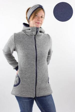 Damen-Wolljacke hellgrau und marine meliert