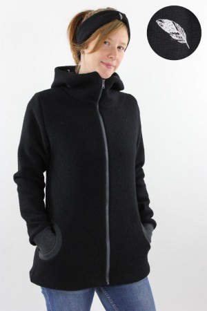 Damen-Wolljacke schwarz mit Federn L