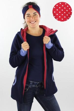 Damen-Wolljacke marine mit Punkten auf rot