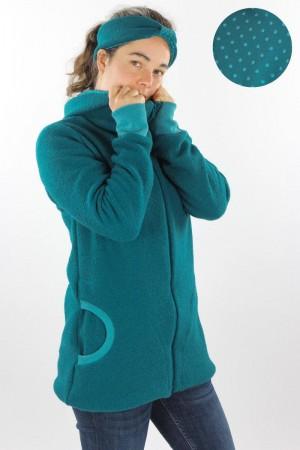 Damen-Wolljacke smaragd mit Punkten auf petrol