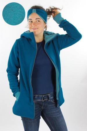 Damen-Wolljacke petrol und petrol meliert