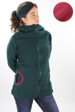 Damen-Wolljacke dunkelgrün und beere meliert
