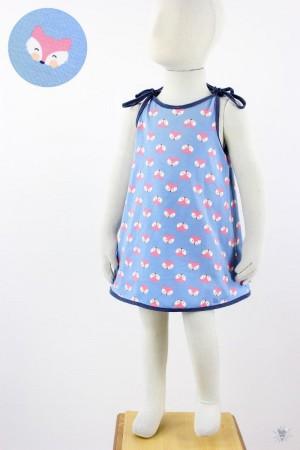 Kinder-Sommerkleid zum Binden hellblau mit Füchsen